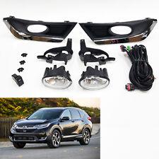 Clear Fog Light For 2017-2018 Honda CR-V CRV with Chrome Bezel Switch Wire Bulbs