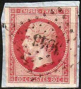 FRANCE #17g 1853-60  80c carmine Vermilion Napoléon Used