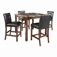 5 Piece Faux Marble Leather Counter Height Dining Set Table Chairs Kitchen  Wood