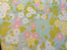 Wamsutta Superlin floral blue 81x104 Flat Sheet No Iron Luxurious Muslin Usa