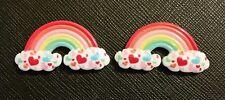 2 X Pequeño resinas de nube de arco iris de corazón Cabujón Resina Dorso duro para Libros de recortes Kawaii