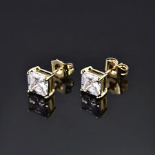 HUCHE Classic Square Diamond Clear Sapphire 24K Gold Filled Lady Party Earrings