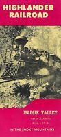 Highlander Railroad Brochure Maggie Valley North Carolina Smokey Mtns.
