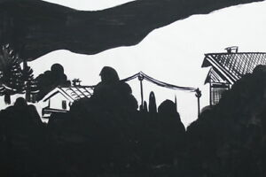 VINTAGE EXPRESSIONIST COMPOSITION INK DRAWING CITYSCAPE LANDSCAPE