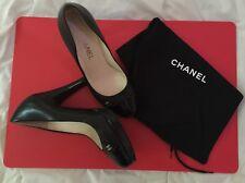 7333f602c6 CHANEL Classic Leather Patent Cap Toe Platform Pumps Heels Shoes Black 37 EU