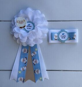 Blue Lamb / Sheep Baby Shower Corsage ,Lamb Mommy & Daddy Corsage Set