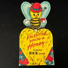 Vtg 1961 60s Valentines Card Honey Bee Honeycomb Ephemera Greeting Hearts Funny