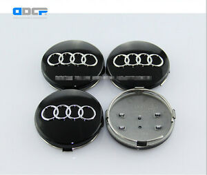4x 60mm BLACK AUDI ALLOY WHEEL CENTRE HUB CAPS, TT A1 A2 A3 A5 A4 A6 A8 S-Line
