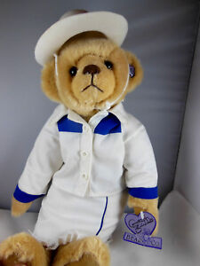 ANNETTE FUNICELLO Teddy Bear in Cowgirl outfit white cowboy hat pin on ear Tag