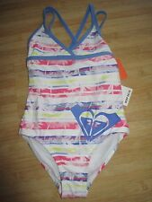 NEW* ROXY SWIMSUIT 1 PC GIRLS 2 2T White Blue Stripes $42 Retail