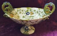 Cantagalli Italian faience vintage Victorian antique snake handle footed bowl