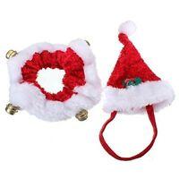 Christmas Pet Hat and Collar 2 Piece Set Bells Dog Puppy Cat Kitten Xmas Gift