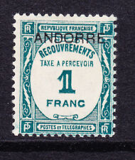 FRENCH ANDORRA Postage Due SGFD35 1fr of France opt m/m light hinge thin cat£150