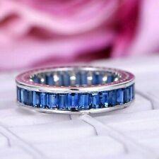 Emerald Cut Blue Sapphire 5.10 CT Eternity Women's Wedding Band 14k White Gold