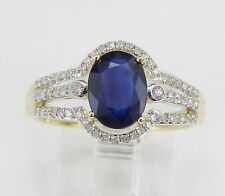 Yellow Gold Diamond and Sapphire Engagement Ring Size 7 September Birthstone
