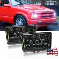 """Pair 4x6"""" Square Led 5D Headlights High Low Beam DRL For Chevrolet S10 1995-1997"""
