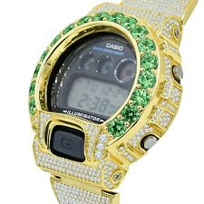 Custom Authentic Casio G-Shock Emerald Green Solitaire DW 6900 Gold Finish Watch