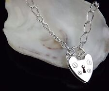 Sterling Silver 925 Ladies Charm Bracelet Heart Padlock FLASH SALE 24HR AUCTION