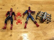 Spiderman Action Figure Lot Of (2) With Accessories Toy Biz Vintage 1990's