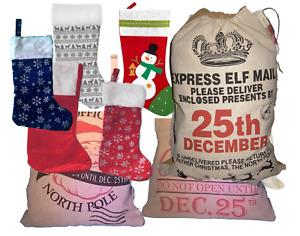 Presents Bags Stocking Elf Vintage Hessian Christmas Xmas Santa Sack Jute Styles