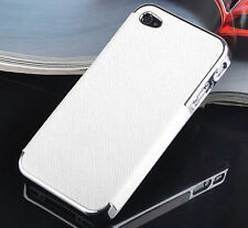 Frame Luxury PU Leather Chrome Hard Back Case Cover For Apple iPhone 4/4s/5/5S