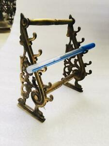 Old Brass Unique Shape Jali Cut Engraved Table Pen Stand With 5 Pen Holders