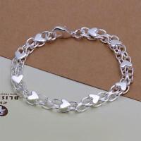 ASAMO Damen Armband mit Herz Anhänger 925 Sterling Silber plattiert Herzen A1293