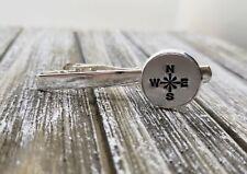 Handmade Handstamped Silver Compass Rose Tie Bar Clip