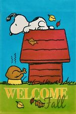 "Peanuts Welcome Fall Thanksgiving 12"" x 18"" Garden Flag ft. Snoopy w/ Turkey"