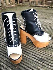 Charla Tedrick Gallows Black and White Platform Oxford Boots UK8 US11