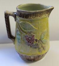 """Vintage Antique Majolica 5 1/4"""" Pitcher Basket Weave Apple Blossom"""