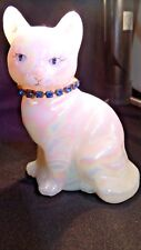 Fenton Glass Painted Iridized White Cat September Birthstone Necklace Sapphire