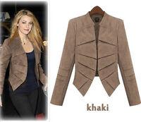 Womens Long Sleeve Jacket Ladies Blazer Coat Slim Fit Faux Suede Plus Size S-5XL