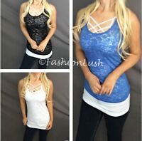 Burnout Racerback Scoop Neck Relaxed Fit Semi-Sheer Layer Tank Tee T-Shirt Top