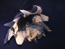 German Fine Quality Artist Doll Porcelain in Wool felted Handcrafted Flower