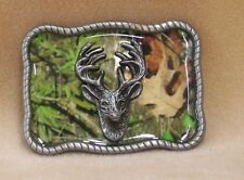 Belt Buckle Camouflage Background With Raised Deer Head Pewter Rectangle
