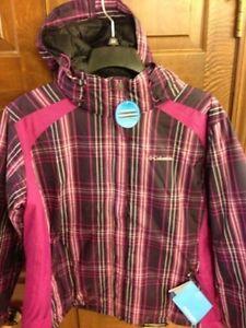 Columbia Snowy Lake Jacket Purple Plaid Hooded Coat Women's Medium M NWT XL4698