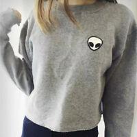 Womens Girls Casual Crop Top Pullover Hooded Sweatshirt Jumper Hoodie Outwear
