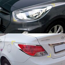 Chrome Head lamp Cover Rear Tail Light Molding for HYUNDAI 11 - 16 Accent Verna