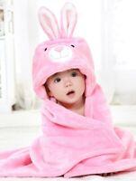 Baby Hooded Bath Towels Animal Bathrobe Fleece Blanket Pink Rabbit