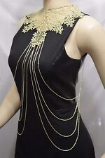 Women Gold Metal Chain Links Long Waves Body Jewelry Floral Lace Fabric Neck Bib