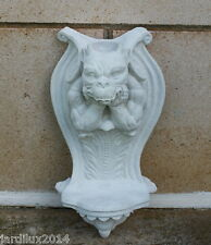 Statue, gargouille murale- bougeoir en pierre reconstituée, ton pierre blanche