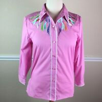 Bob Mackie Womens Top Embroidered Ribbon Long Sleeve Button Down Pink Size M 10