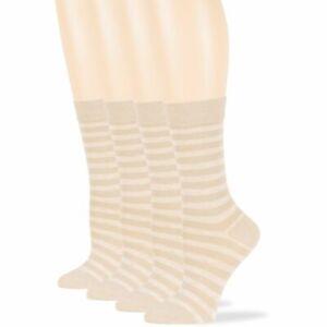 Women's Cotton 4 Pack Striped Dress Casual Crew Socks Large 10-12 Light Beige