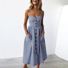 Womens Holiday Strappy Button Bow Dress Summer Beach Bodycon Midi Swing Sundress