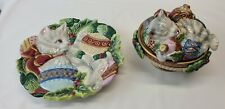 Fitz And Floyd Essentials Kristmas Kitty Candy Dish Bowl w Lid, Plate bundle