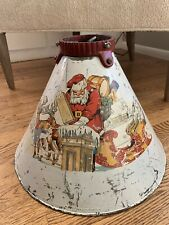 Antique Noma Tree Stand Metal Christmas Tree Stand with Santa and Reindeer