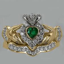 Natural Heart Shape Emerald & Diamond Bridal Set Claddagh Ring 14k Two-tone Gold