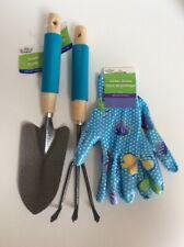 Garden Collection-Set of 3-Garden Gloves, Trowel & Cultivator-Foam Grip-NEW-TAGS