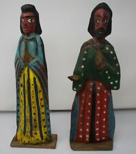 Antique Latin American Folk Art Mary/Joseph Nativity Carved/Painted Wood Statues